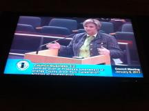 Irvine Commissioner Melissa Fox addressing the Irvine City Council