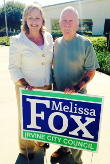 Irvine Commissioner Melissa Fox with Marine Corps veteran and veterans' advocate Bill Sandlin