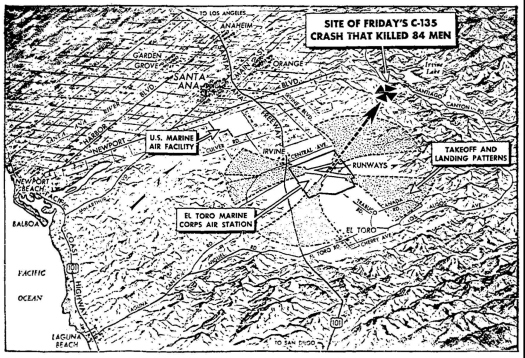 Map showing location of where U.S. Air Force C-135 aircraft crashed after leaving El Toro Marine Corps Air Station killing all 84 on board. This graphic was published in the June 26, 1965 Los Angeles Times.