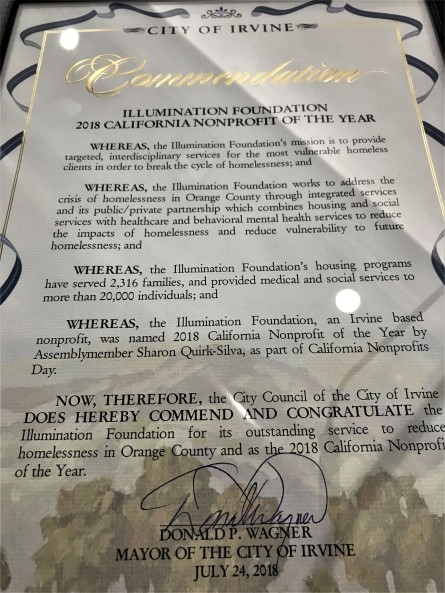 Irvine City Council Honors Illumination Foundation for Outstanding